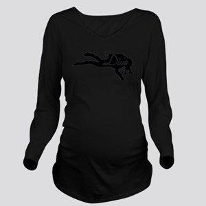 Diver Dive Blk Long Sleeve Maternity T-Shirt